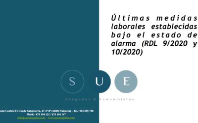 Últimas medidas laborales establecidas bajo el estado de alarma (RDL 9/2020 y 10/2020)