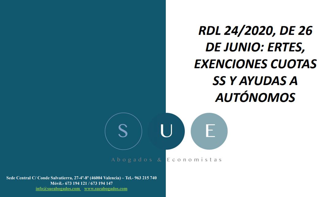 Nuevas medidas laborales del RDL 24/2020, de 26 de junio: ERTES y ayudas a autónomos